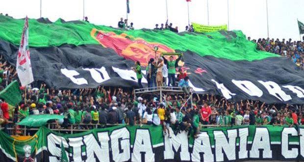 Singa Mania supporter Sriwijaya FC berharap Liga 2 2020 tetap dilanjutkan. FOTO : VIRALSUMSEL.COM