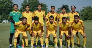 Starting eleven Sriwijaya FC dalam laga uji coba di Yogyakarta. FOTO : VIRALSUMSEL.COM