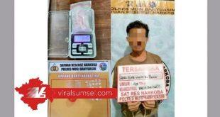 HS diduga pengedar narkoba di Desa Sri Gunung Kabupaten Musi Banyuasin. FOTO : VIRALSUMSEL.COM