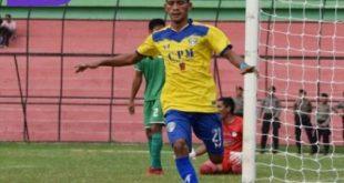 Teja Ridwan penyerang Cilegon United selebrasi usai cetak gol. FOTO : MO CILEGON UNITED