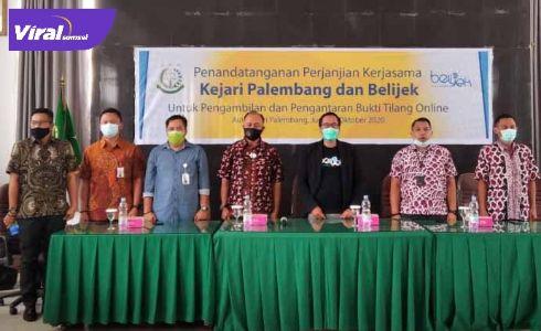 Perjanjian Kejaksaan Negeri Palembang bekerjasama dengan Belijek powered by belido.id. FOTO : VIRALSUMSEL.COM