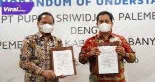 Bupati Banyuasin H Askolani SH MH dengan Direktur Utama PT Pupuk Sriwidjaja Palembang Tri Wahyudi Saleh. FOTO : VIRALSUMSEL.COM