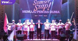 Gubernur Sumsel H Herman Deru hadiri launching Sumsel Siap Menuju Pentas Dunia. FOTO :VIRALSUMSEL.COM