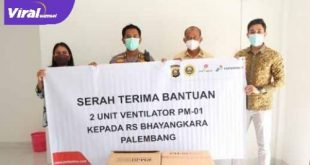 Serahterima bantuan ventilator dari SKK Migas -Pertamina EP pada RS Bhayangkara. FOTO : VIRALSUMSEL.COM