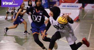 Pertandingan Tim basket putri SMAN 5 Sekayu di ajang DBL 3x3 2021. FOTO : VIRALSUMSEL.COM